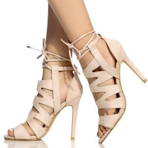 Shoes - Lola Beige Faux Suede Cut Out Lace Up Heels